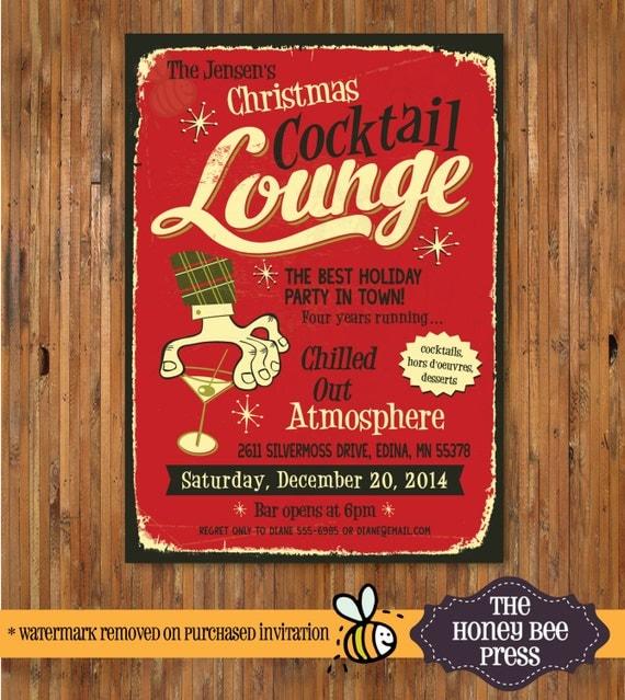 Retro Christmas Party Invitations: Retro Holiday Party Invitation Christmas Cocktail Party