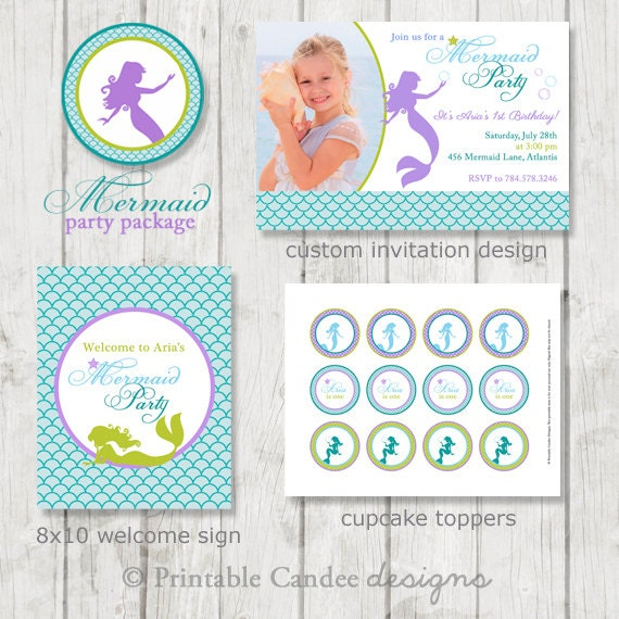 Mermaid Birthday Party Package - Mermaid Birthday - Nautical Birthday - Mermaid Party - Printable Mermaid Decor