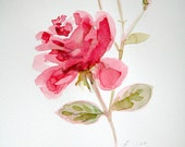 Carmine Red Rose Painting, Flower original watercolor - Mother's Day, anniversary gift, wall art