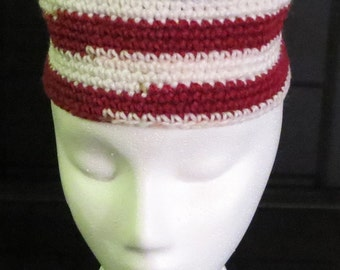 Red and White African Kufi Style Hat with Trim, braid and tassle