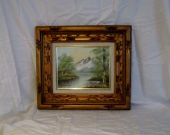 Original Oil on Canvas Mountain Stream Landscape Signed by Artist in Original Frame