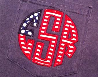 Flag Monogram Shirt - Flag Monogrammed Shirt - Monogram Comfort Colors Shirt - Monogrammed Short Sleeve tshirt - Applique Flag Monogram tee