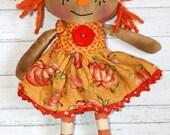 Tiny Pumpkin Penny - Primitive Autumn Raggedy Ann Doll (HAFAIR)