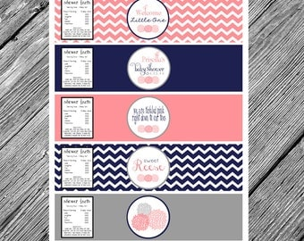 Coral and Navy Baby Shower Printable Water Bottle Labels