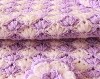 Craft Supply-Baby Blanket PATTERN-Lilac Lily-Crochet Puff Stitch Tutorial-Baby Shower DIY Gift-Instant Download Lyubava Pattern PDF No.4