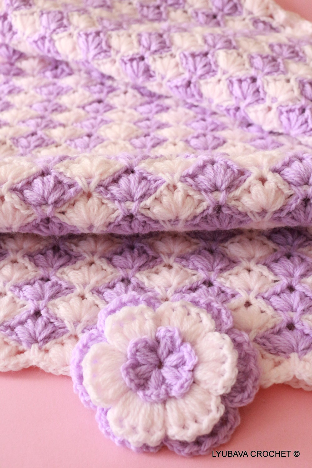 Craft Supply-Baby Blanket PATTERN-Lilac Lily-Crochet Puff