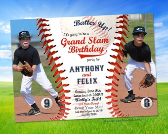 Baseball Birthday Invitation Two Photos - Shared Party - Personalized - Printable File or Prints - 4x6 or 5x7 - Little League