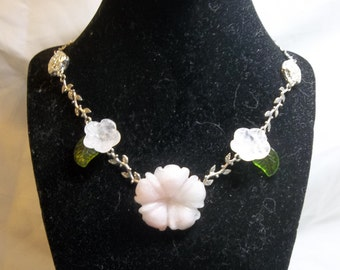 Pink and Silver Cherry Blossom Necklace - Rose Quartz and Metal Necklace