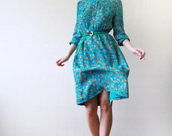Green blue floral knee length long sleeve day dress Small