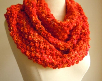 Merino wool long cowl - Passionate orange