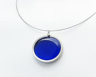Dark Blue Pendant Necklace - cobalt melted glass marble necklace, glass jewelry 023