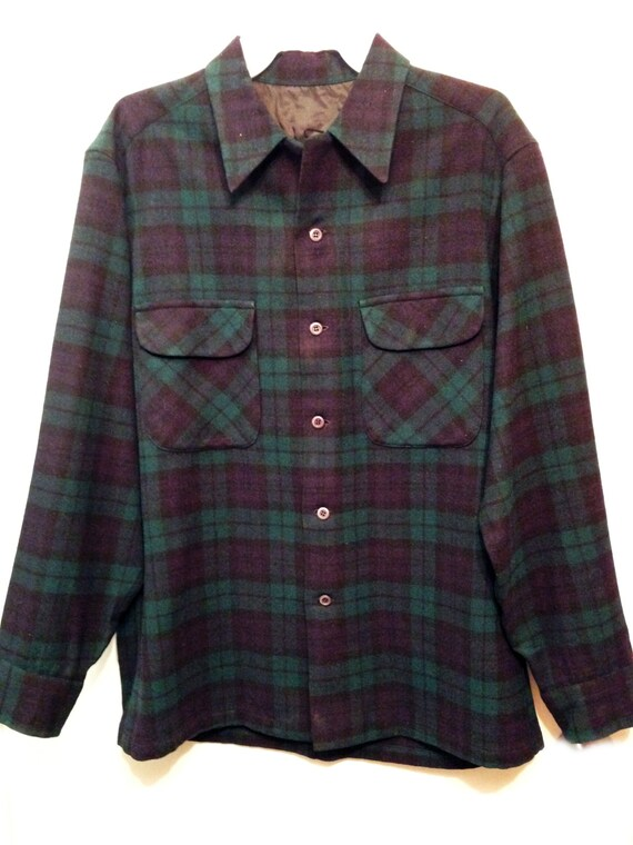 Men 39 s black watch tartan plaid flannel shirt by for Black watch plaid flannel shirt