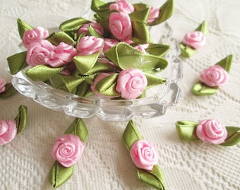 Pink Rose with green leaf Ribbon Pink bow, Pink rose, 50 pcs. rose applique, fabric rose,  fabric bow, wedding, party, card decorate, party