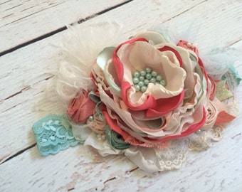 Baby Girl Headband, Flower Girl Headband, Persnickety Headband, Girls Headband, Mint Coral Headband