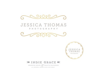 Custom PreDesigned / Modern Gold logo design and Logo Stamp - for photography or boutique