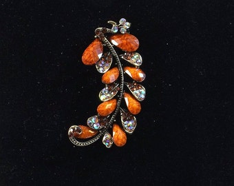 Feather Plume Brooch with Rhinestones and Natural Stone