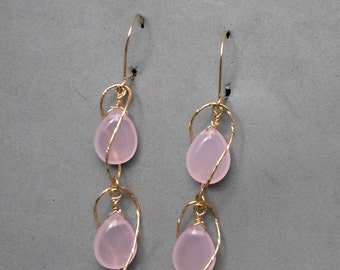 Long Dangle Earrings, Double Curved Wires, Gold Filled,2 Rose Quartz Drops, Light, Humoristic, For Any Outfit