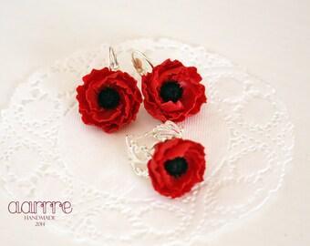 Flower jewelry set, red flower jewelry set, poppy jewelry set, red poppy jewelry set, flower earring, flower ring, poppy earring, poppy ring