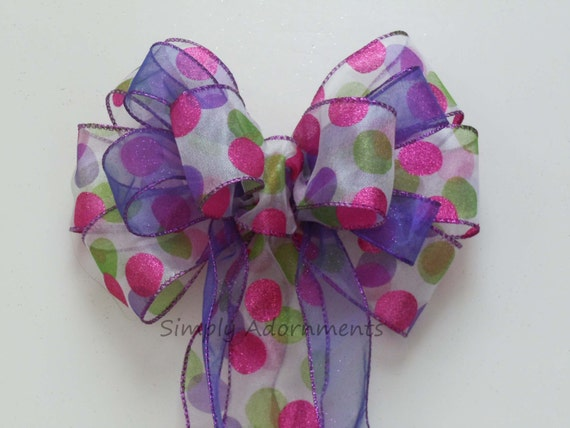 Pink Green Polka Dots Easter wreath Bow Purple Pink Green Dots Bow Polka Dots Birthday Party Decor Spring Dots Door Bow Easter Basket Bow