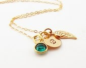 Gold Personalized Initial Necklace Bronze Angel Wing with Swarovski Birthstone Charm 14K Gold Filled Chain Commemorative Memorial Sympathy
