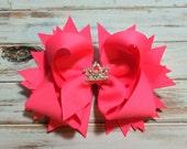 Neon Pink Bow, Hair bows, Hair accessories, Baby headbands, Girls hair bows, Stacked hair bows, Big hair bows