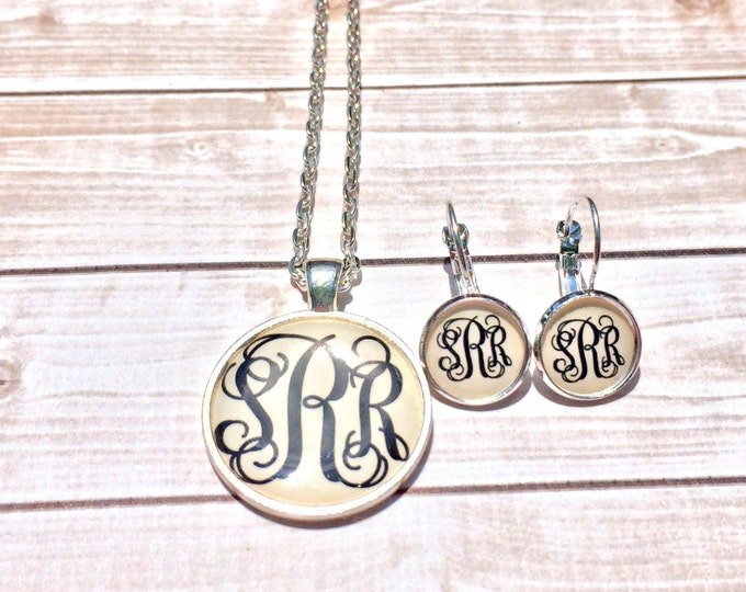 Silver Monogram Necklace and Monogram Earrings, Monogrammed Jewelry, Monogram Gift Set,  Monogrammed Gifts, Bridesmaid Gifts