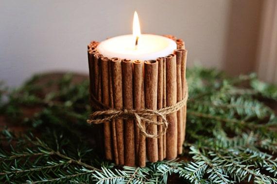 Cinnamon Sticks Candle - Christmas & Winter Wedding Candle Centerpiece Decoration