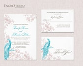 Peacock and Roses Wedding Invitation Suite