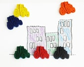 Tractor Crayons, set of 6, party favour, wedding gift
