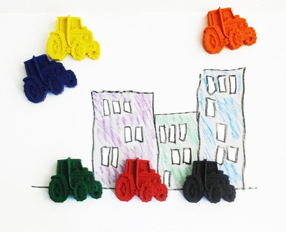 Tractor Crayons - Tractor Gift - Farm Crayons - Handmade Crayons - Crayons for kids - Farm Party - Colouring Book - Set of 6 Crayons  -