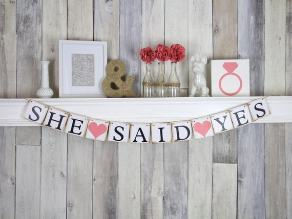 She Said Yes Banner, Engagement Party Ideas, She Said Yes Sign, Bridal Shower Banner