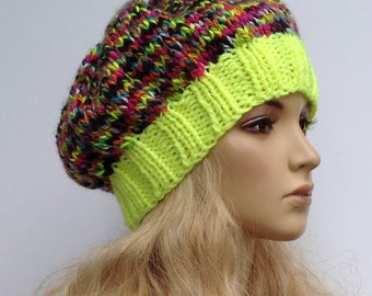 Knit Winter Slouchy Beanie Fluorescent Yellow with Bright Colors