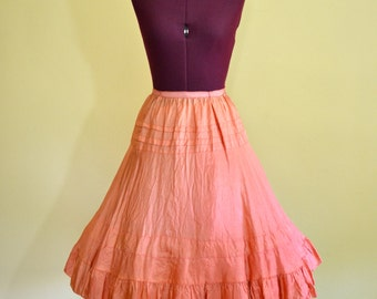 1950s Vintage Styled by Florell Peach Taffeta Full Wide Circle Skirt size Large (XS S) waist 24