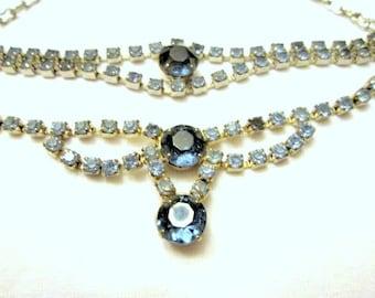 Blue Rhinestone Necklace & Bracelet Set ON SALE Vintage 1950 Silver Tone Prong Set Rhinestones Mid Century Modern Mad Men Chic Gift For Her