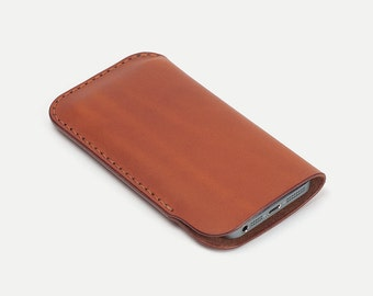 iPhone sleeve - Tan Italian vegetable tanned leather - DHK GOODS