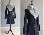 Stunning Dark Gray Knee Length Vintage Jacket with Silver Metallic and Light Gray Fur Collar / Glam Punk Goth / 1980s 1970s