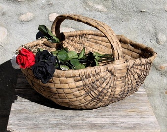 Antique French Hand made Reed Basket  Circa 1940.