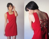 80's Gorgeous Rampage Hot Red Cocktail Sweetheart Neck Backless Party Body Con A Line Mini Dress Club Kid