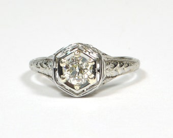 "Antique 1910 ""Belais"" 18k White Gold and Diamond Engagement Ring"