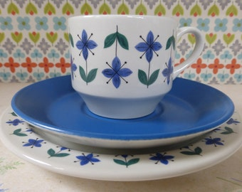 Midwinter Roselle trio - Roselle cup, saucer and tea plate - Midwinter china - retro china