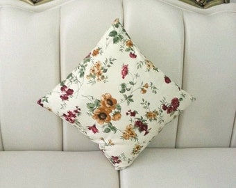 """Shabby Chic Home - Linen Cream Pillow Covers with Claret Red, Brown and Green Floral Print - 18x18"""" - Gift for Her, for Mom"""