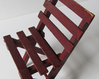 Doll's Red Wood, Handmade, Hand Painted, Folding Chair, Folds Flat: Sweet & Vintage Doll Furniture