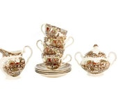 Vintage Multicolor Olde English Country Side Teacup & Saucers with Cream and Sugar Bowl // Johnson Brothers
