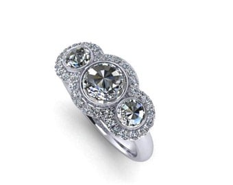 Rosecut Diamond  Trio with Halo Engagement Ring 14K Gold