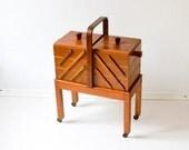 Vintage sewing basket sewing box jewelry box organizer walnut wood wooden