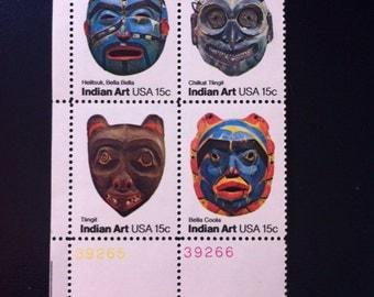 Indian Art 15 Cent US : 1980 block Set of 4  Scott 1834-37 //Heiltsuk Bella Bella//Chilkat Tlingit//Tlingit//Bella Coola