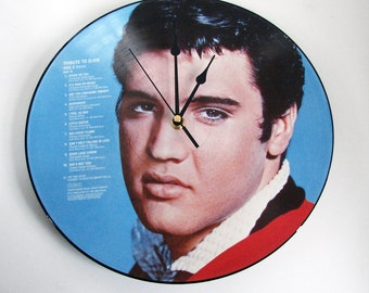 "Young ELVIS Presley, Vinyl Record CLOCK, made from recycled 12"" Picture disc, Fun Gift for, men, dad, mum, husband, wife"