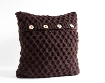 Brown hand knitted cushion waffle pattern pillow cover with wool  0193