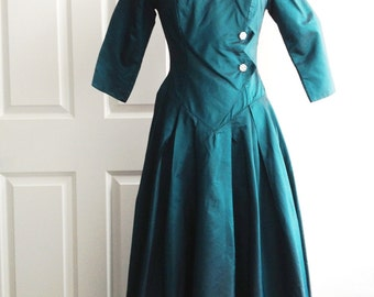 Stylish 80s dark green taffeta party dress/ forest green cocktail dress/ prom dress/ multi length/ long sleeves