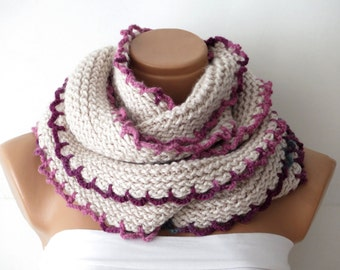 Winter  scarf,Women,Crochet vanilla scarf,,Knitted Scarf.Loop Scarf,Neck Warmer..Vanilla Hand knit scarves.